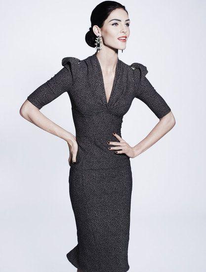 zac posen pre-fall 2012 collection dark grey dress