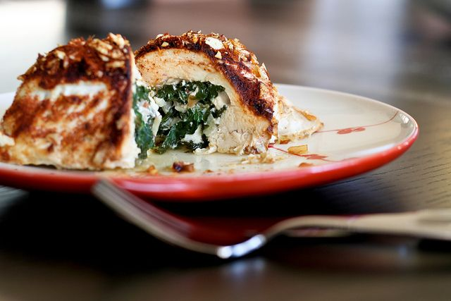 Chicken Stuffed with Spinach, Feta & Almonds. Low-fat and delicious.