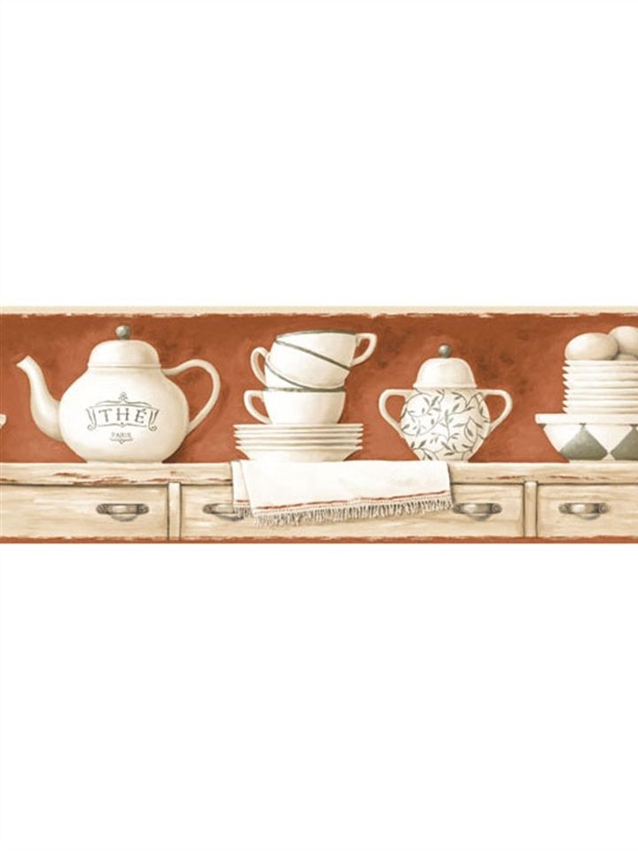 kitchen bath sunworthy tea pots wallpaper border kb206639b