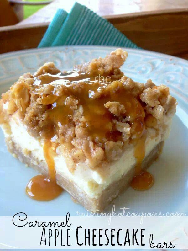 Caramel apple cheesecake bars | Food :) | Pinterest
