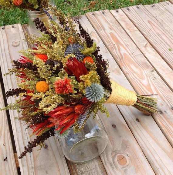 tequila sunrise collection bridesmaid bouquet dried