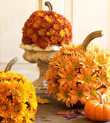 Tabletop 'Mumkins': Mum's the word when dressing up a pumpkin. To make these, cut a lid and remove the seeds and pulp. Using a drill or nail, make holes just wide enough for the flower stems to poke through and insert the flowers.