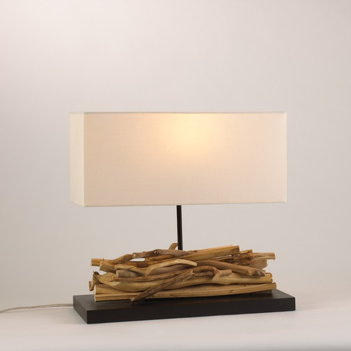 driftwood table lamp 16 with natural rectangular shade new. Black Bedroom Furniture Sets. Home Design Ideas