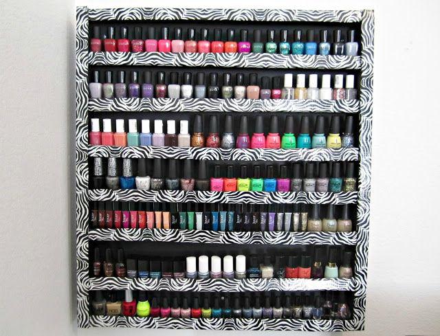 Diy foam board nail polish rack hanna pinterest - Rangement vernis a ongles mural ...