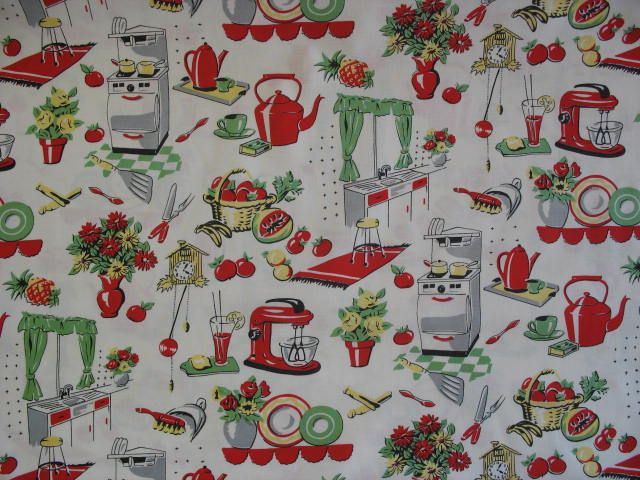 Retro 50s kitchen wallpaper everything retro pinterest for Kitchen print wallpaper