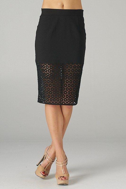 black laser cut pencil skirt like it