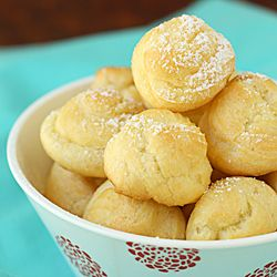 Cream puffs filled with sweet lemon mascarpone cream.