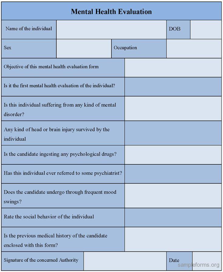 Mental health evaluation form mental health evaluation form