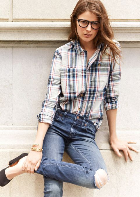 Tucked in button up flannel into jeans style board for Flannel shirt and jeans