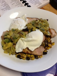 First blog post!! Poached eggs with marinated pork, sauteed corn and ...