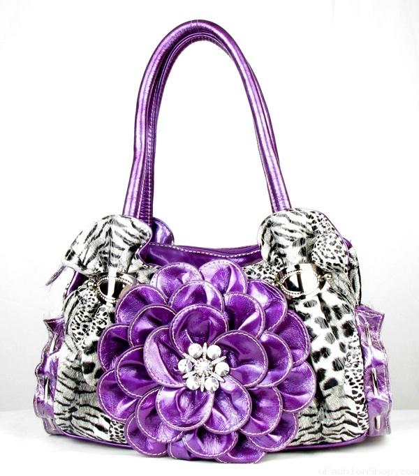 sassy purple | CHEETAH RHINESTONE FLOWER SASSY PURSE PURPLE