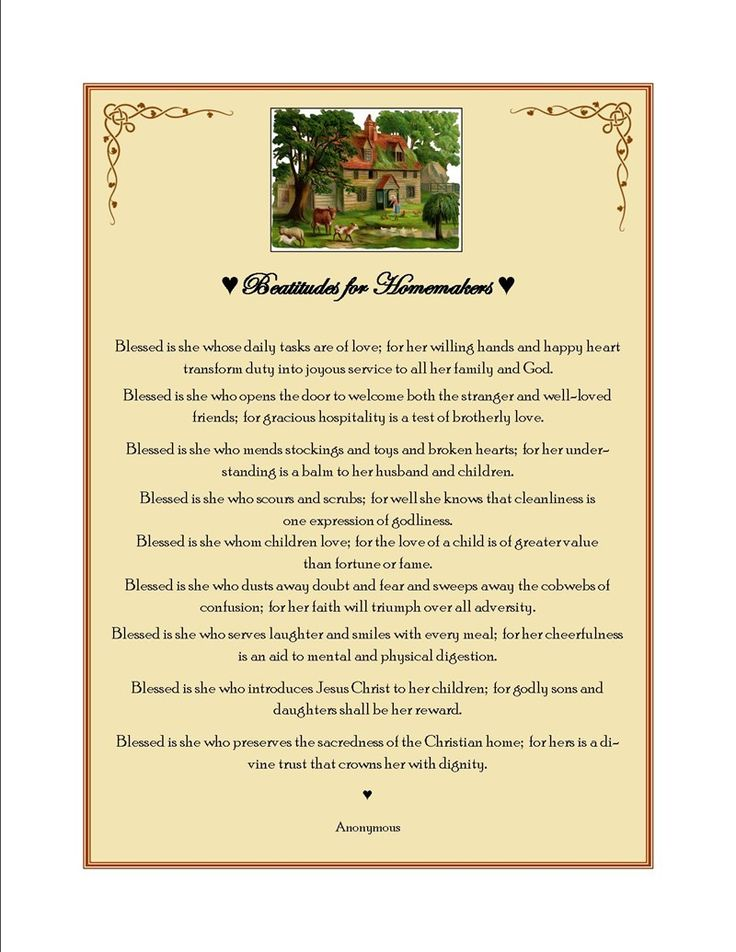 Beatitudes for Homemakers