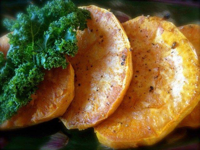 Roasted Sweet Potato Rounds and Sautéed Lemony Kale