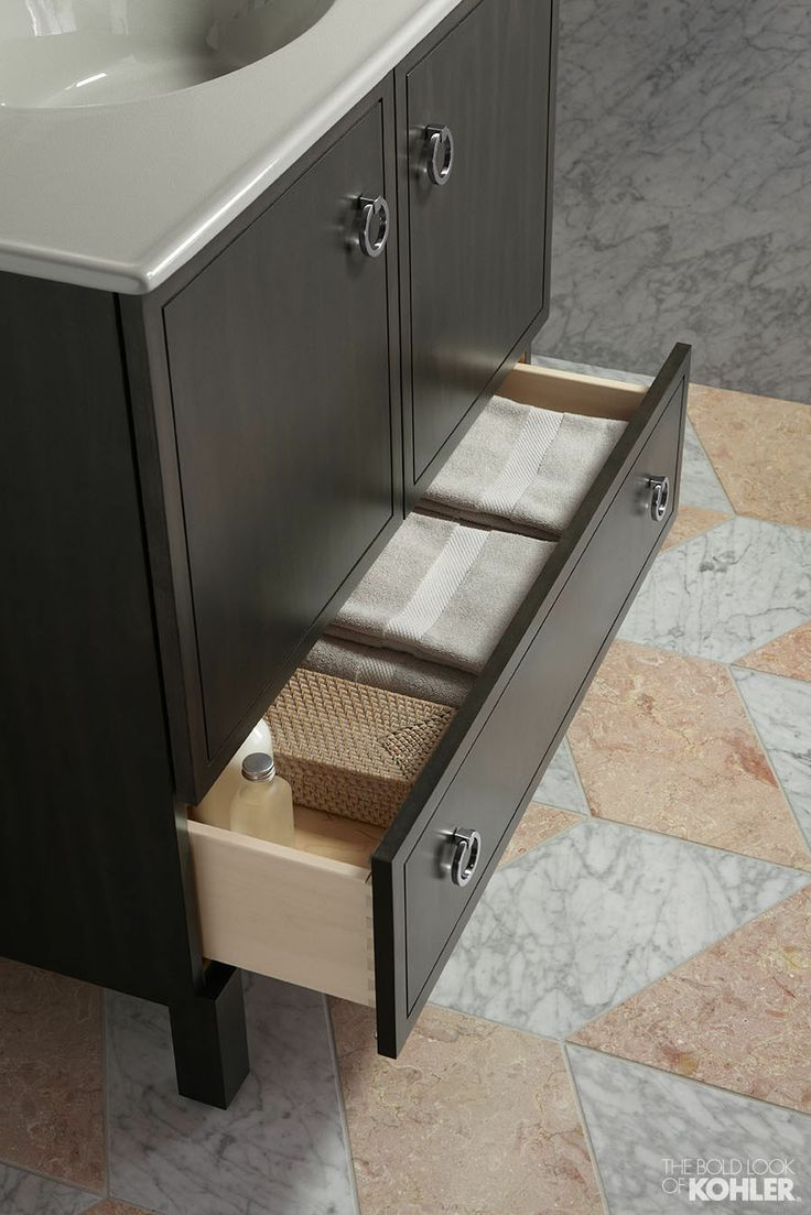 Bathroom towel organization in the Kohler Jacquard tailored vanity ...