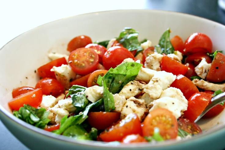 salad: grape tomatoes, fresh mozzarella, basil, salt and pepper, olive ...