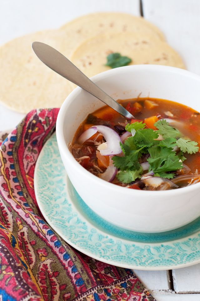 Black Bean and Butternut Squash Enchilada soup, from a blog I recently ...