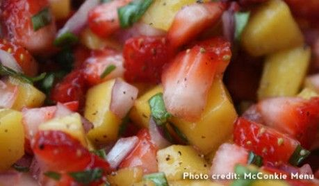 Tailgate Recipe Strawberries and Mango Salsa enjoy with some Sutter Home Sauvignon Blanc