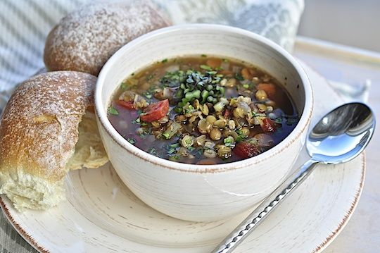 Lentil Soup with Cherry Tomatoes | Vegan | Pinterest