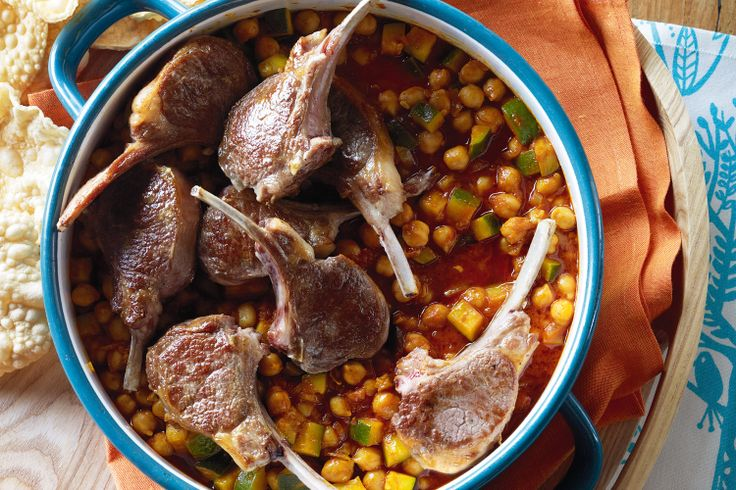 Lamb cutlets w chickpea and zucchini curry