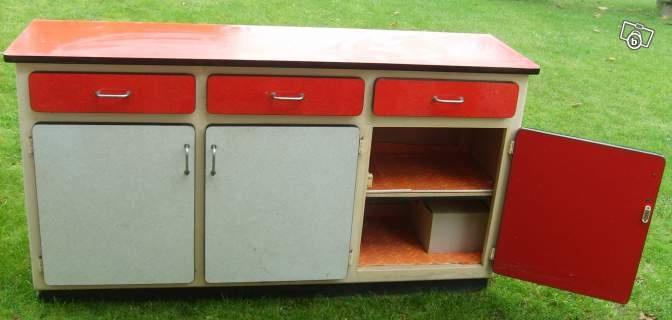 Meubles formica vintage rouge-gris design 1960 Ameublement Pas-de ...