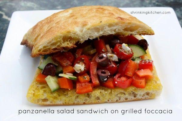 Panzanella Salad Sandwich on Grilled Foccacia Bread | Recipe