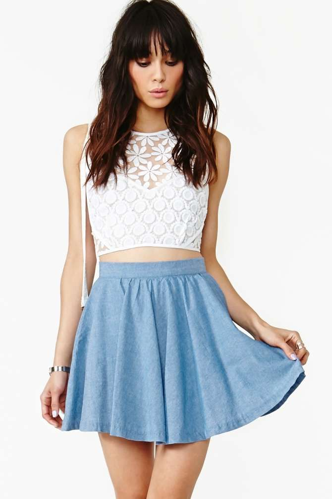 High waisted flowy skirts with crop tops