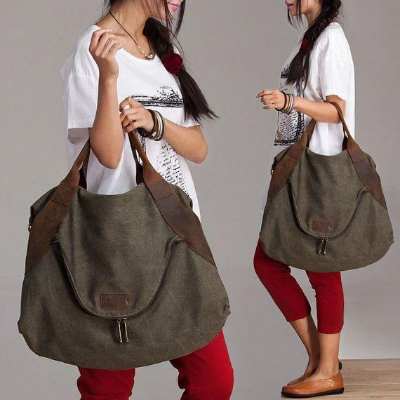 Big large capacity Green Leisure women's single shoulder bag Leather Canvas Messenger Bag  Washed Canvas Bag  Leather Bag  Laptop Bag  0029