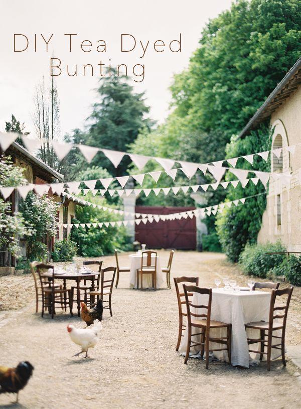DIY WEDDING DECOR: TEA DYED LINEN BUNTING