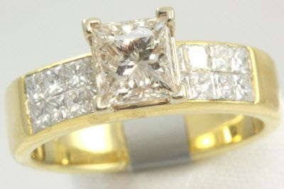 25 ct princess cut diamond and 80 ctw s of invisible set princess cut ...