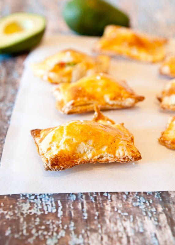 avocado, cream cheese and salsa puff pastry bites