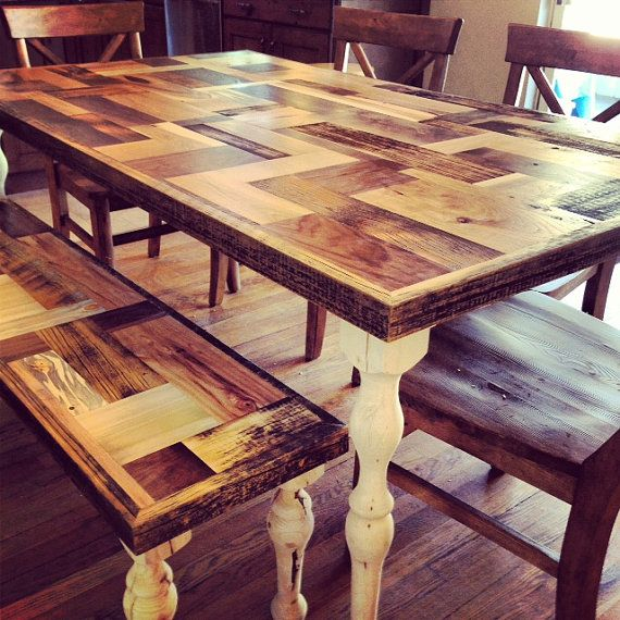 Handmade farmhouse dining table with patchwork wooden top for What is a farmhouse table
