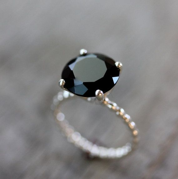Black Spinel Precious Gemstone and Sterling Silver