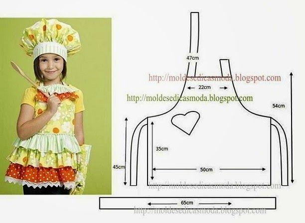 Как сшить детский фартук и колпак выкройка для девочки 73