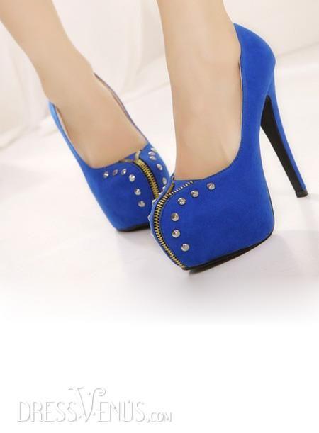 Cool Punk Zipper Round Toe Stiletto Heels Suede Womens Shoes, Punk