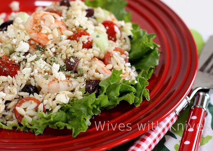 Greek Orzo and Grilled Shrimp Salad with Mustard-Dill Vinaigrette. Had ...