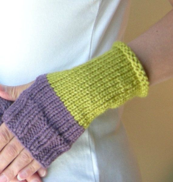 Bold Color Block Purple Lime Green hand knit finger-less gloves/hand warmers #purple #lime #knitting