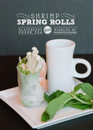 Shrimp spring rolls with blackberry and green tea from Nibbles by Grandeur Affaires. #wedding #catering #food #drink