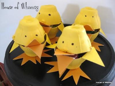 Cute Craft for Kids  http://thehouseofwhimsy.blogspot.com/2012/03/egg-carton-chicks.html