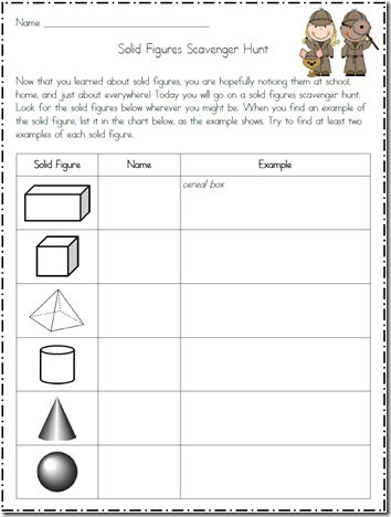 Chart-Scavenger hunt- geometry 3-D shapes-Thanks for the freebie ...