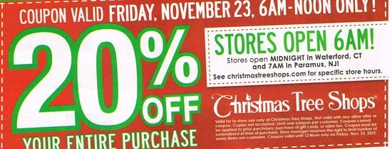 Christmas Tree Shops: 20% off Printable Coupon
