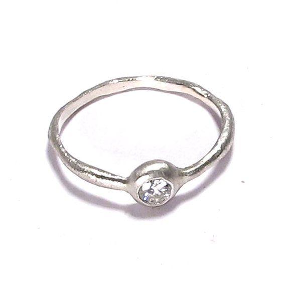 handmade sterling silver simple modern organicdiamond
