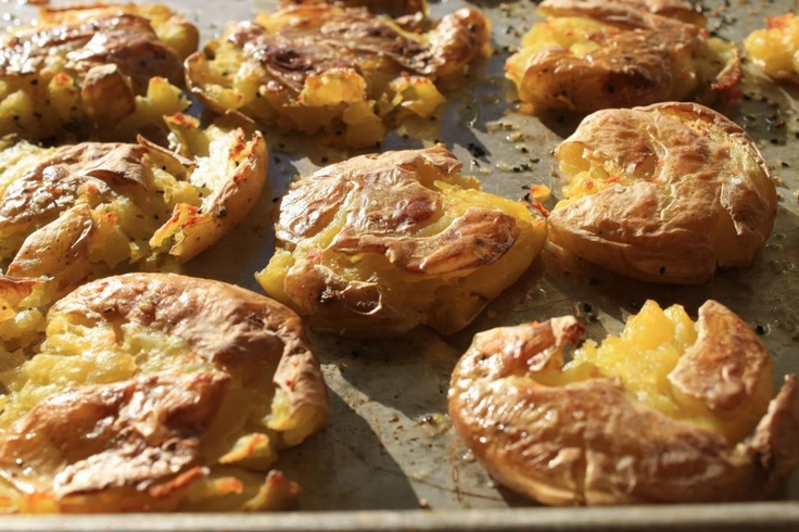 """Smashed"""" Baby Yukon Gold Potatoes With Garlic Extra Virgin Olive Oil"""