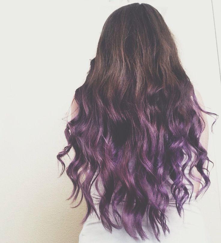 Brunette to Purple Ombre Dip Dye Hair