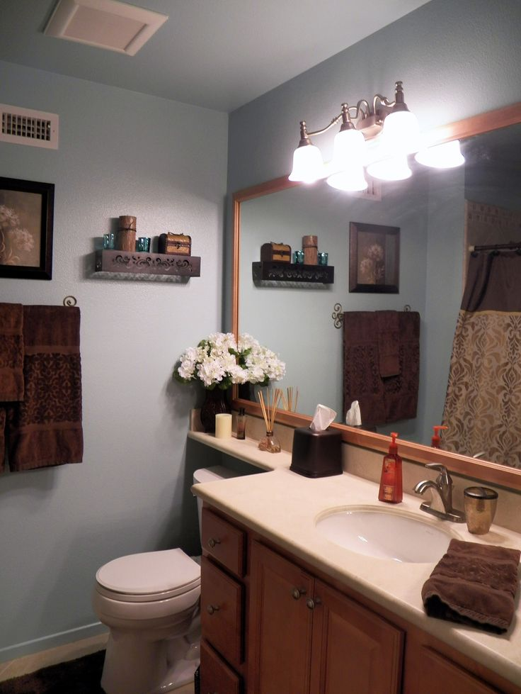 blue and brown bathroom home sweet home