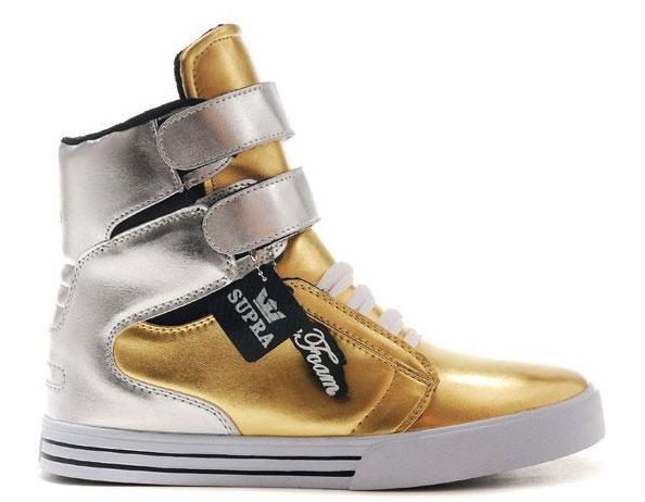 Supra High Tops Gold Silver White