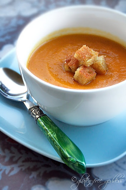 Curried carrot soup with pan toasted gluten-free cornbread croutons...