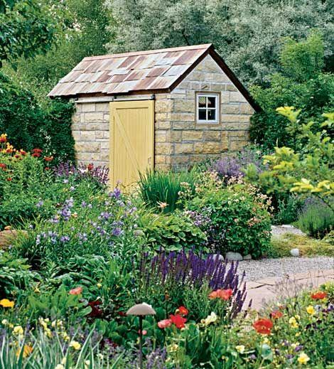 Potting shed potting garden sheds pinterest for Garden potting sheds designs