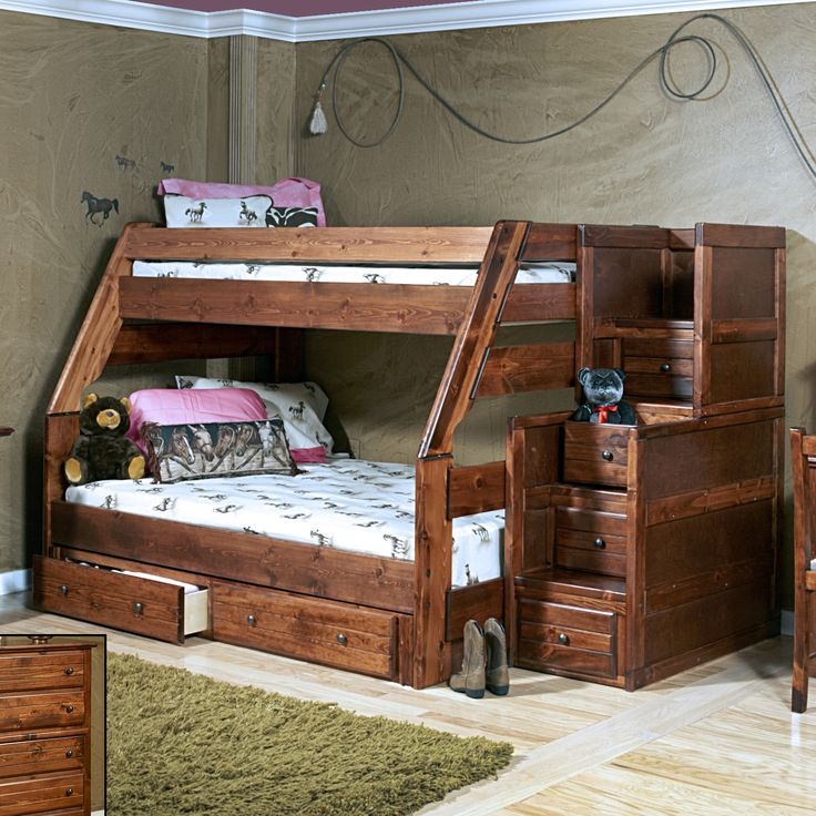 Twin Over Full Standard Bunk Bed with Stairway Chest and