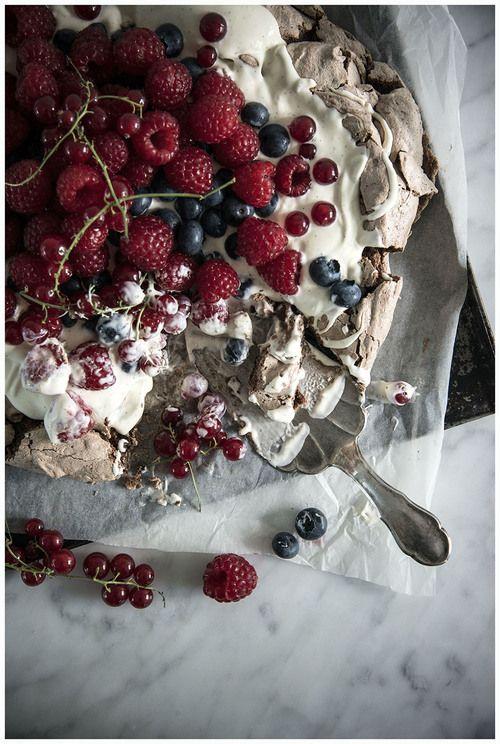 chocolate pavlova with vanilla crème fraîche and summer berries… # ...
