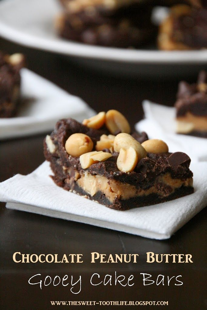 Chocolate Peanut Butter Gooey Cake Bars - The Sweet {Tooth} Life
